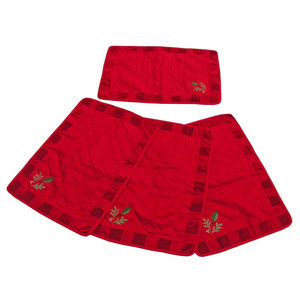 NWT Quilted Noel Faux Velvet Embroidered Set of 4